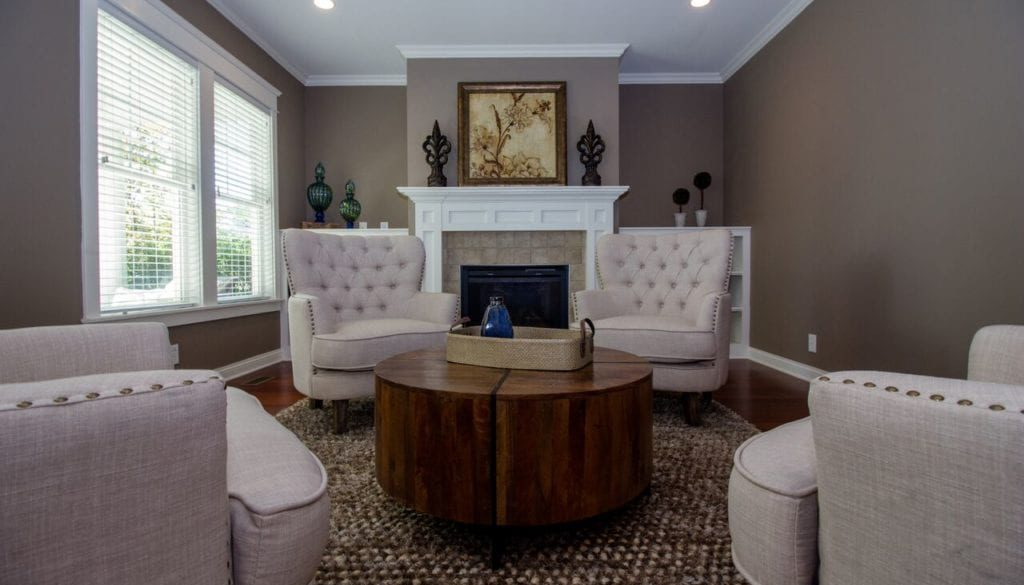 The living room after a home staging project