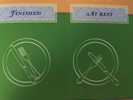 Proper etiquette. Resting versus finish position of silverware.